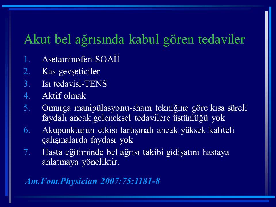 Akut bel ağrısında kabul gören tedaviler 1.Asetaminofen-SOAİİ 2.Kas gevşeticiler 3.Isı tedavisi-TENS 4.Aktif olmak 5.Omurga manipülasyonu-sham tekniği