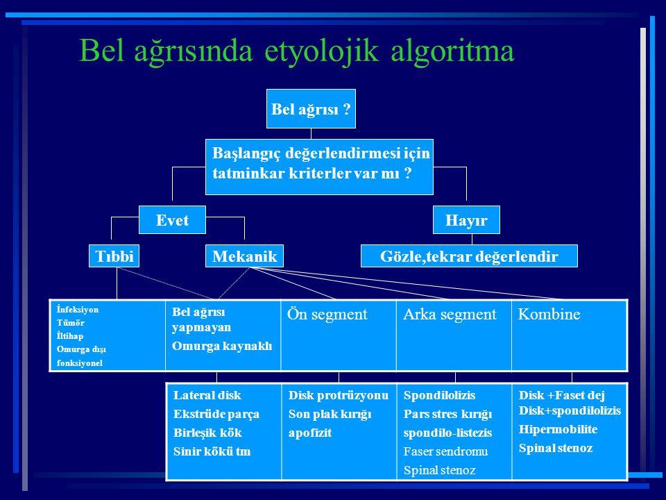 Bel ağrısında etyolojik algoritma Bel ağrısı ? Başlangıç değerlendirmesi için tatminkar kriterler var mı ? HayırEvet Gözle,tekrar değerlendirTıbbiMeka