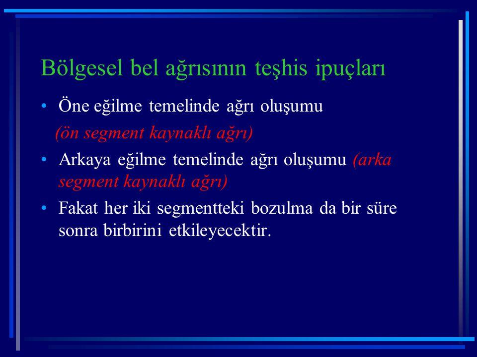 Bölgesel bel ağrısının teşhis ipuçları Öne eğilme temelinde ağrı oluşumu (ön segment kaynaklı ağrı) Arkaya eğilme temelinde ağrı oluşumu (arka segment
