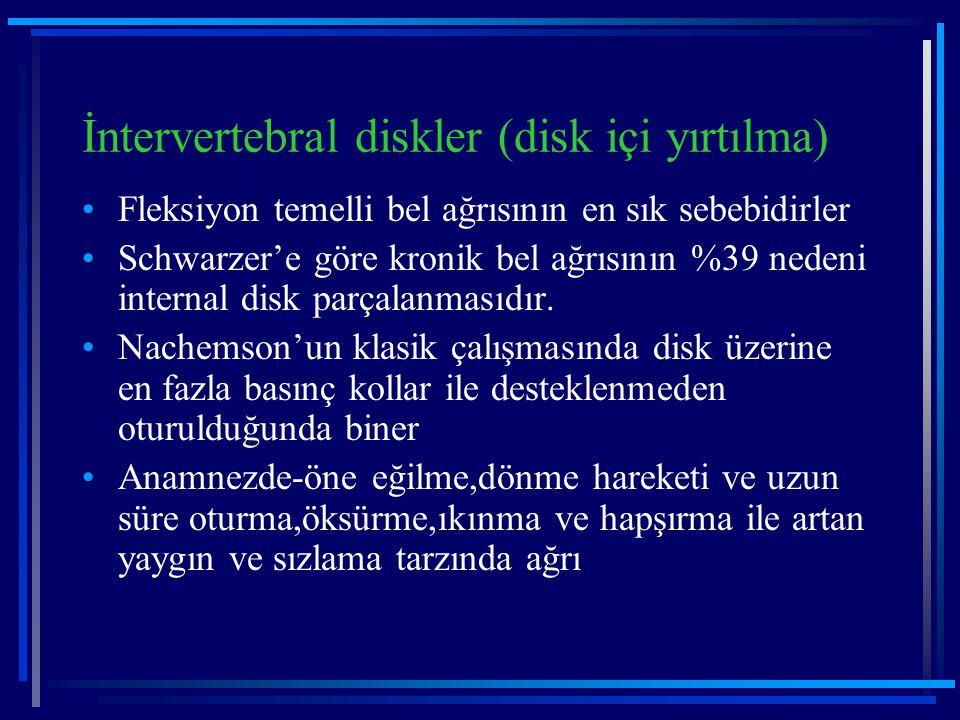 İntervertebral diskler (disk içi yırtılma) Fleksiyon temelli bel ağrısının en sık sebebidirler Schwarzer'e göre kronik bel ağrısının %39 nedeni intern