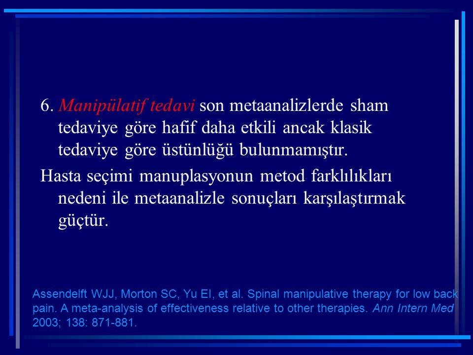 6. Manipülatif tedavi son metaanalizlerde sham tedaviye göre hafif daha etkili ancak klasik tedaviye göre üstünlüğü bulunmamıştır. Hasta seçimi manupl