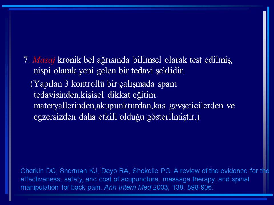 7. Masaj kronik bel ağrısında bilimsel olarak test edilmiş, nispi olarak yeni gelen bir tedavi şeklidir. (Yapılan 3 kontrollü bir çalışmada spam tedav