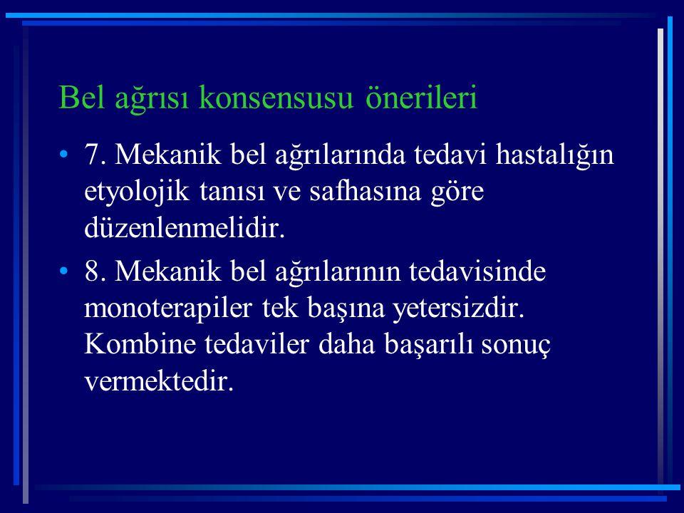 Bel ağrısı konsensusu önerileri 7. Mekanik bel ağrılarında tedavi hastalığın etyolojik tanısı ve safhasına göre düzenlenmelidir. 8. Mekanik bel ağrıla