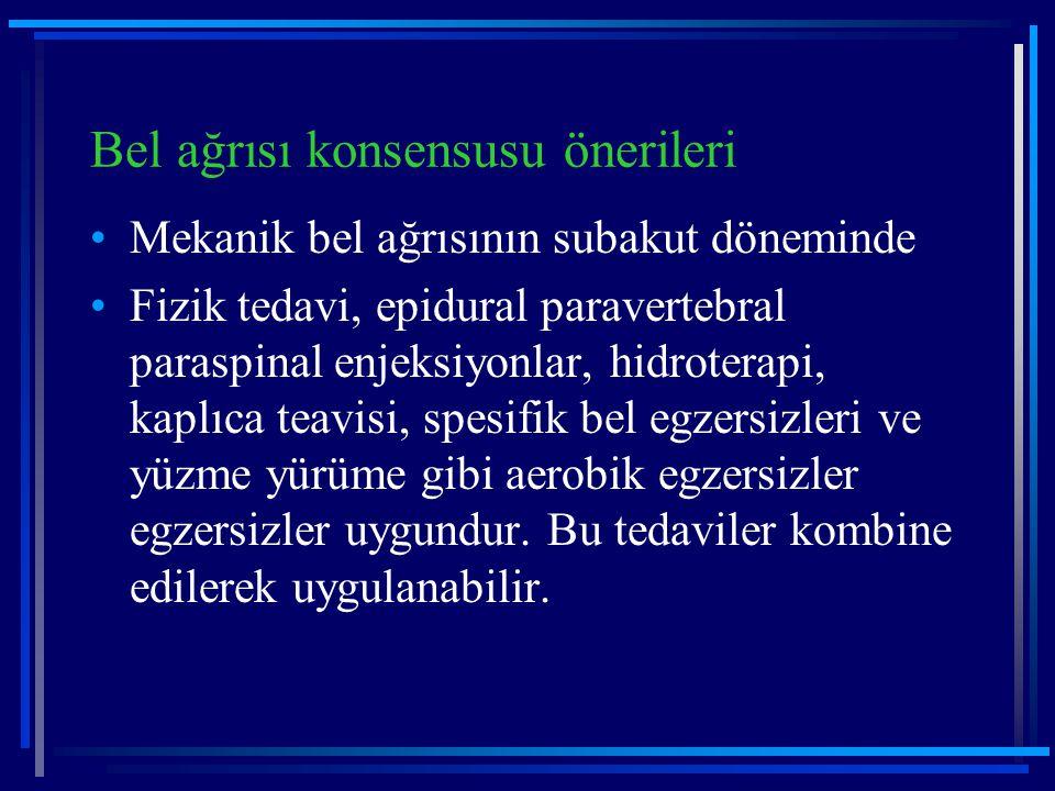 Bel ağrısı konsensusu önerileri Mekanik bel ağrısının subakut döneminde Fizik tedavi, epidural paravertebral paraspinal enjeksiyonlar, hidroterapi, ka