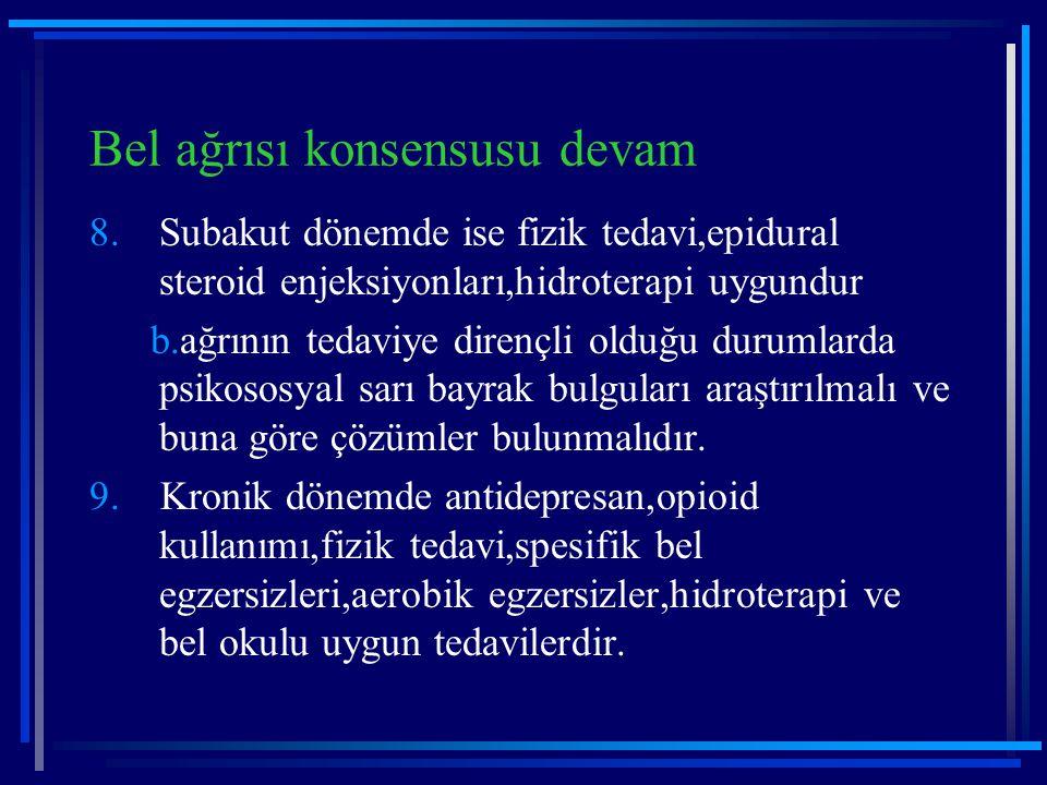 Bel ağrısı konsensusu devam 8.Subakut dönemde ise fizik tedavi,epidural steroid enjeksiyonları,hidroterapi uygundur b.ağrının tedaviye dirençli olduğu
