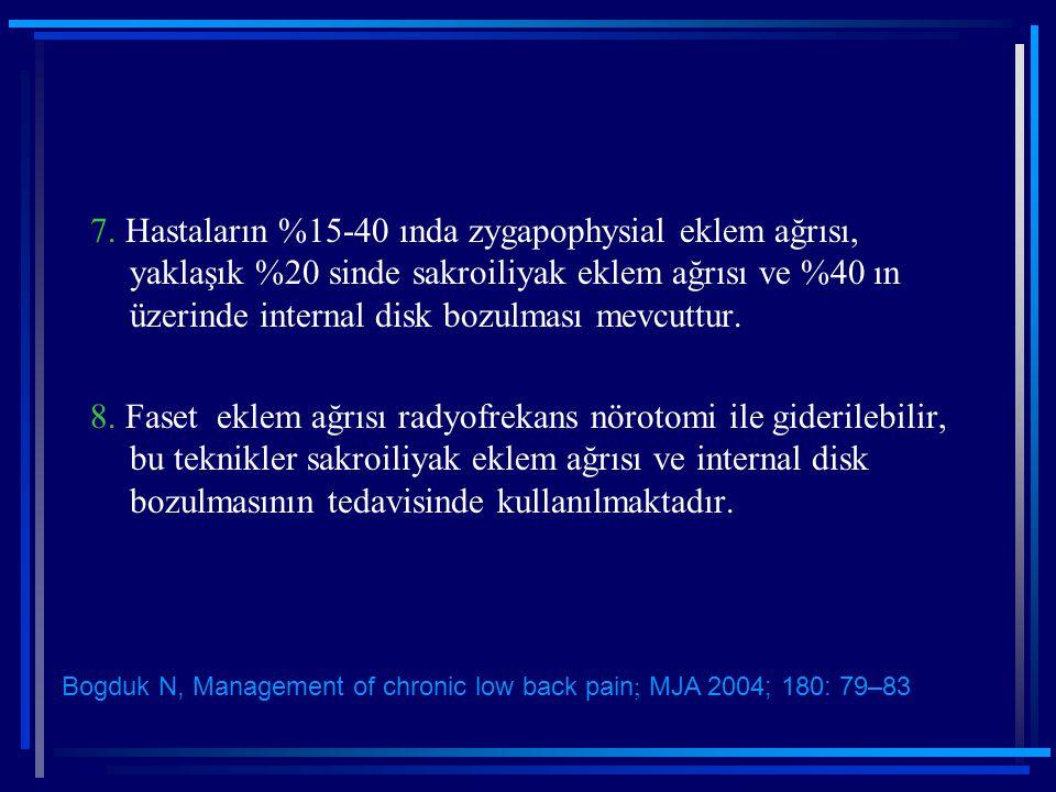 7. Hastaların %15-40 ında zygapophysial eklem ağrısı, yaklaşık %20 sinde sakroiliyak eklem ağrısı ve %40 ın üzerinde internal disk bozulması mevcuttur