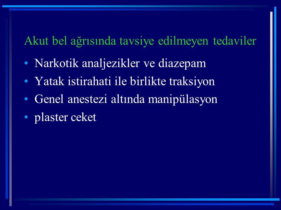 Akut bel ağrısında tavsiye edilmeyen tedaviler Narkotik analjezikler ve diazepam Yatak istirahati ile birlikte traksiyon Genel anestezi altında manipü