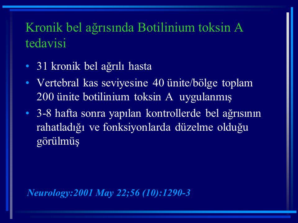 Kronik bel ağrısında Botilinium toksin A tedavisi 31 kronik bel ağrılı hasta Vertebral kas seviyesine 40 ünite/bölge toplam 200 ünite botilinium toksi