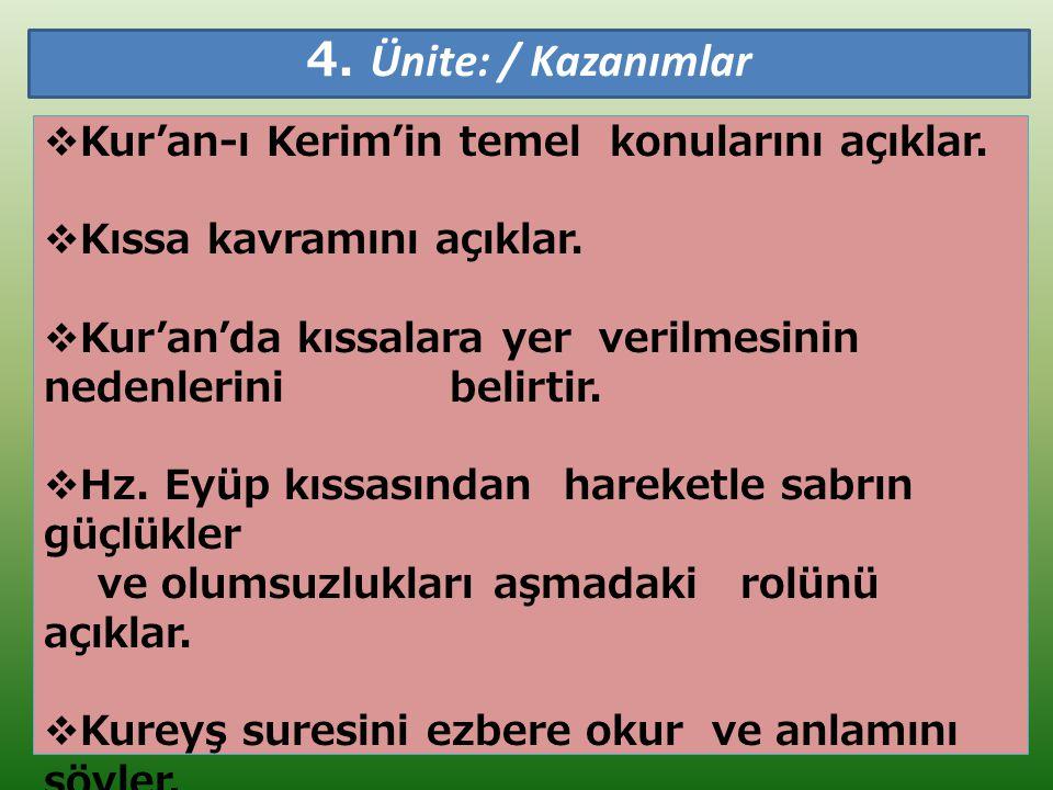 4. Ünite: / Kazanımlar  Kur'an-ı Kerim'in temel konularını açıklar.  Kıssa kavramını açıklar.  Kur'an'da kıssalara yer verilmesinin nedenlerini bel