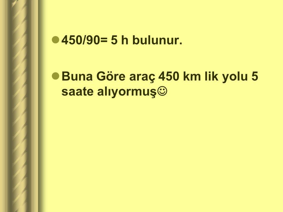 ÇÖZÜM Alınan yol= 450 km Sürat= 90 km/h Zaman=? Formülümüzü yazalım Sürat=Alınan yol/Zaman 90=450/zaman Zaman =450/90= 5 saat