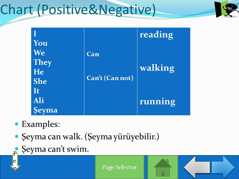 Chart (Interrogative) Can I You We They He She It Ali Şeyma reading walking running Example: Can Şeyma reading.