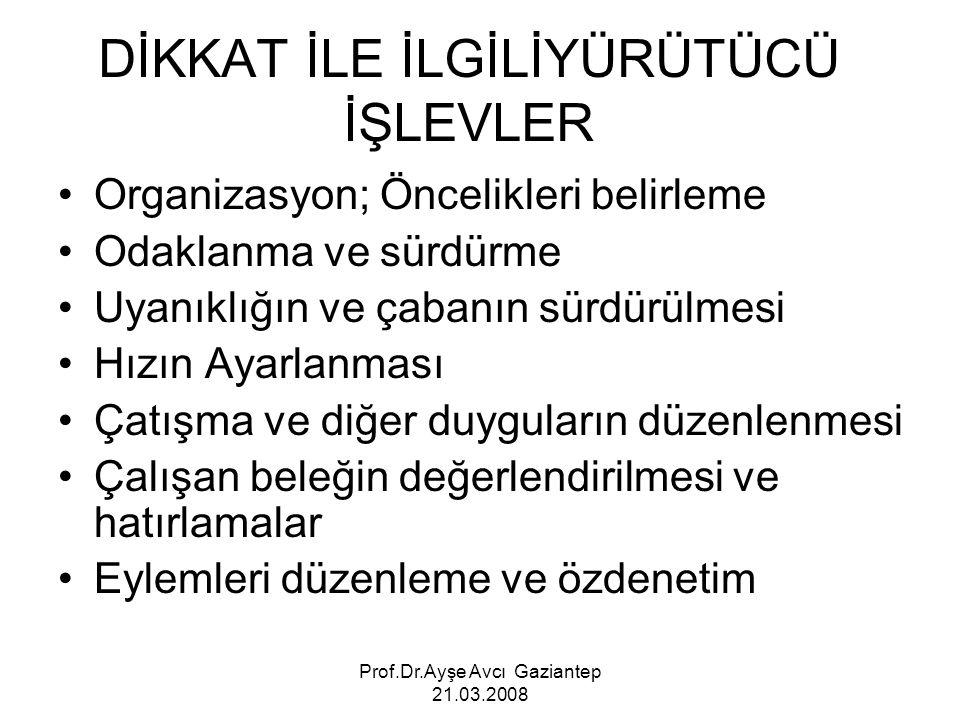 Prof.Dr.Ayşe Avcı Gaziantep 21.03.2008 DİKKAT İLE İLGİLİYÜRÜTÜCÜ İŞLEVLER Organizasyon; Öncelikleri belirleme Odaklanma ve sürdürme Uyanıklığın ve çab