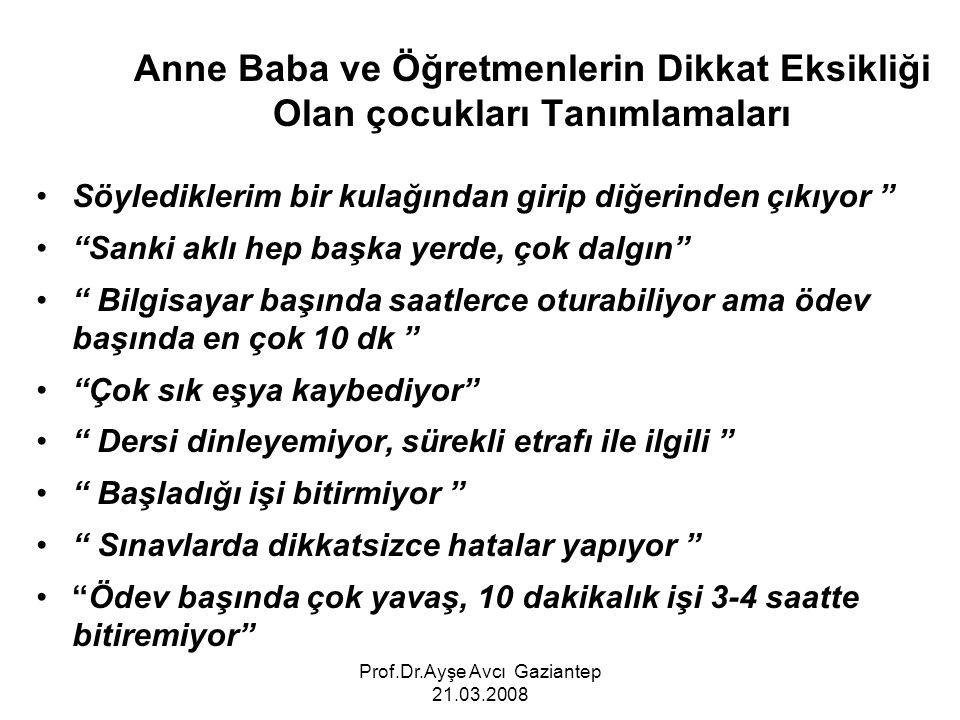 Prof.Dr.Ayşe Avcı Gaziantep 21.03.2008 Anne Baba ve Öğretmenlerin Dikkat Eksikliği Olan çocukları Tanımlamaları Söylediklerim bir kulağından girip diğ