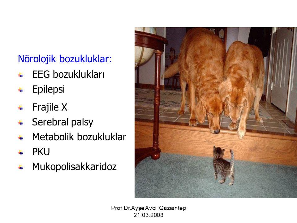 Prof.Dr.Ayşe Avcı Gaziantep 21.03.2008 Nörolojik bozukluklar: EEG bozuklukları Epilepsi Frajile X Serebral palsy Metabolik bozukluklar PKU Mukopolisak