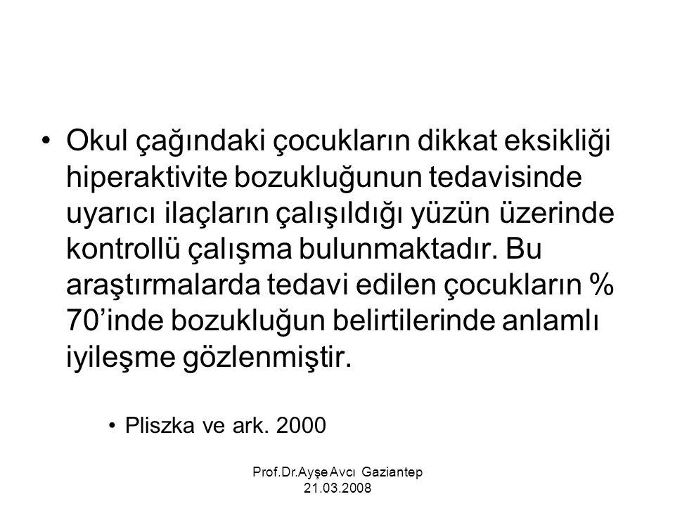 Prof.Dr.Ayşe Avcı Gaziantep 21.03.2008 Okul çağındaki çocukların dikkat eksikliği hiperaktivite bozukluğunun tedavisinde uyarıcı ilaçların çalışıldığı