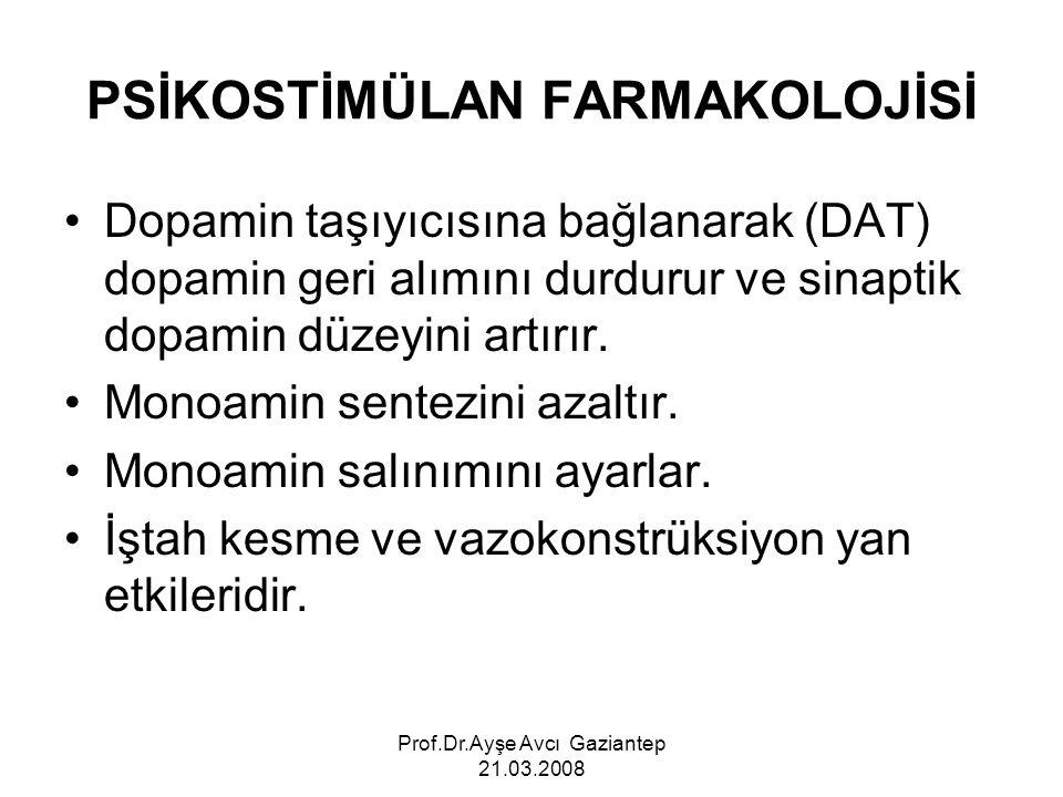 Prof.Dr.Ayşe Avcı Gaziantep 21.03.2008 PSİKOSTİMÜLAN FARMAKOLOJİSİ Dopamin taşıyıcısına bağlanarak (DAT) dopamin geri alımını durdurur ve sinaptik dop