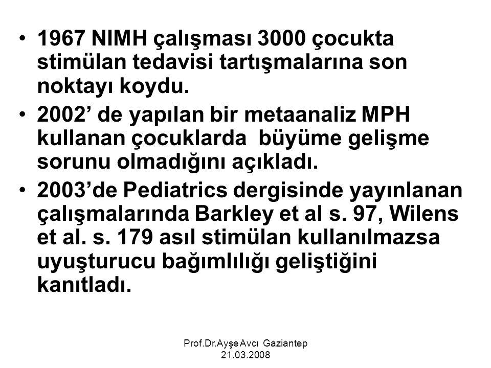 Prof.Dr.Ayşe Avcı Gaziantep 21.03.2008 1967 NIMH çalışması 3000 çocukta stimülan tedavisi tartışmalarına son noktayı koydu. 2002' de yapılan bir metaa