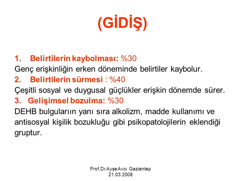 Prof.Dr.Ayşe Avcı Gaziantep 21.03.2008 (GİDİŞ) 1. Belirtilerin kaybolması: %30 Genç erişkinliğin erken döneminde belirtiler kaybolur. 2. Belirtilerin