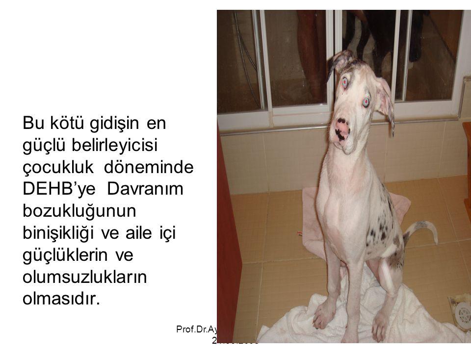 Prof.Dr.Ayşe Avcı Gaziantep 21.03.2008 Bu kötü gidişin en güçlü belirleyicisi çocukluk döneminde DEHB'ye Davranım bozukluğunun binişikliği ve aile içi