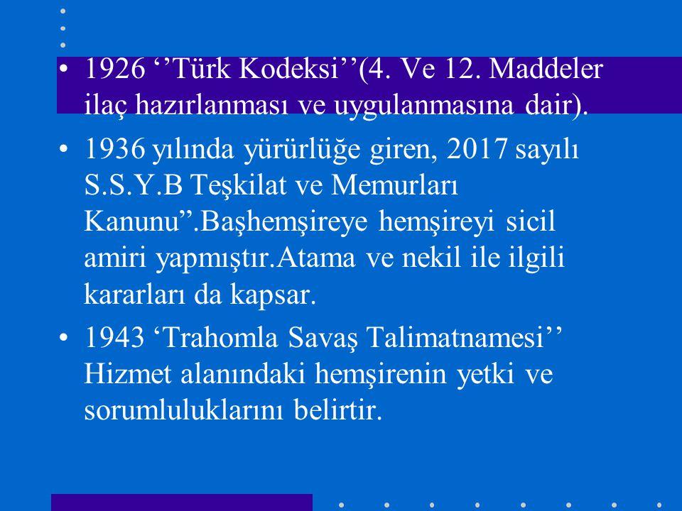 1926 ''Türk Kodeksi''(4. Ve 12. Maddeler ilaç hazırlanması ve uygulanmasına dair). 1936 yılında yürürlüğe giren, 2017 sayılı S.S.Y.B Teşkilat ve Memur