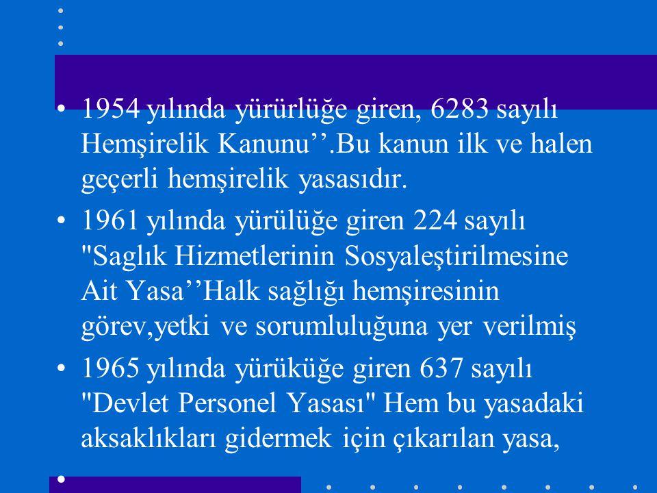 1954 yılında yürürlüğe giren, 6283 sayılı Hemşirelik Kanunu''.Bu kanun ilk ve halen geçerli hemşirelik yasasıdır. 1961 yılında yürülüğe giren 224 sayı