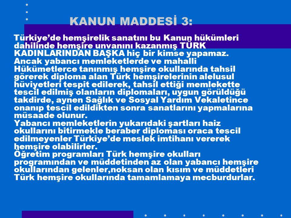 KANUN MADDESİ 3: Türkiye'de hemşirelik sanatını bu Kanun hükümleri dahilinde hemşire unvanını kazanmış TÜRK KADINLARINDAN BAŞKA hiç bir kimse yapamaz.