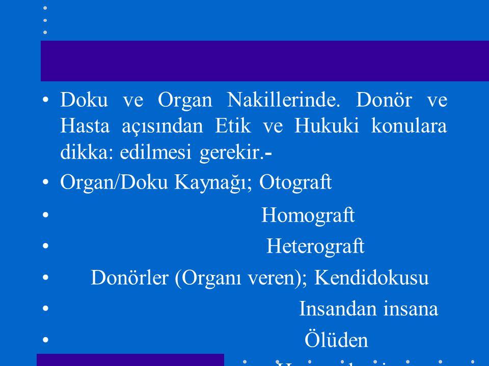 Doku ve Organ Nakillerinde. Donör ve Hasta açısından Etik ve Hukuki konulara dikka: edilmesi gerekir.- Organ/Doku Kaynağı; Otograft Homograft Heterogr
