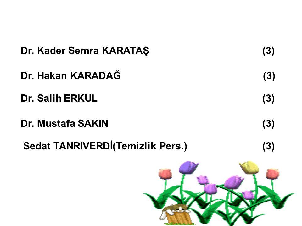 Dr. Hakan KARADAĞ (3) Dr. Salih ERKUL (3) Dr. Kader Semra KARATAŞ (3) Dr. Mustafa SAKIN (3) Sedat TANRIVERDİ(Temizlik Pers.) (3)