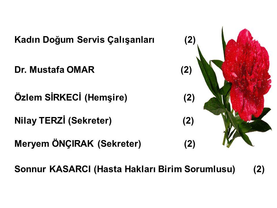 Kadın Doğum Servis Çalışanları (2) Dr. Mustafa OMAR (2) Özlem SİRKECİ (Hemşire) (2) Sonnur KASARCI (Hasta Hakları Birim Sorumlusu) (2) Nilay TERZİ (Se