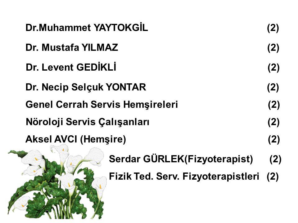 Dr.Muhammet YAYTOKGİL (2) Dr. Levent GEDİKLİ (2) Dr. Necip Selçuk YONTAR (2) Aksel AVCI (Hemşire) (2) Nöroloji Servis Çalışanları (2) Dr. Mustafa YILM