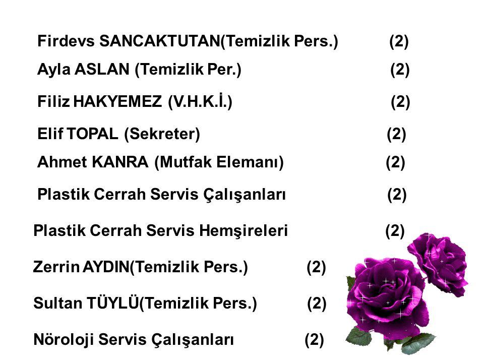 Firdevs SANCAKTUTAN(Temizlik Pers.) (2) Ayla ASLAN (Temizlik Per.) (2) Filiz HAKYEMEZ (V.H.K.İ.) (2) Elif TOPAL (Sekreter) (2) Ahmet KANRA (Mutfak Ele