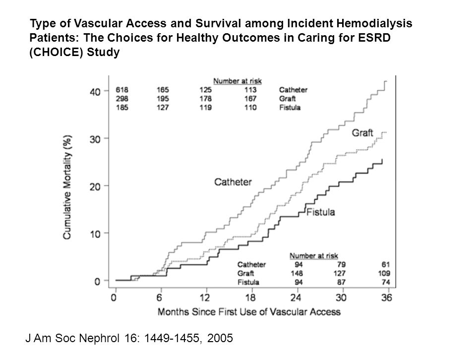 Type of Vascular Access and Survival among Incident Hemodialysis Patients: The Choices for Healthy Outcomes in Caring for ESRD (CHOICE) Study J Am Soc