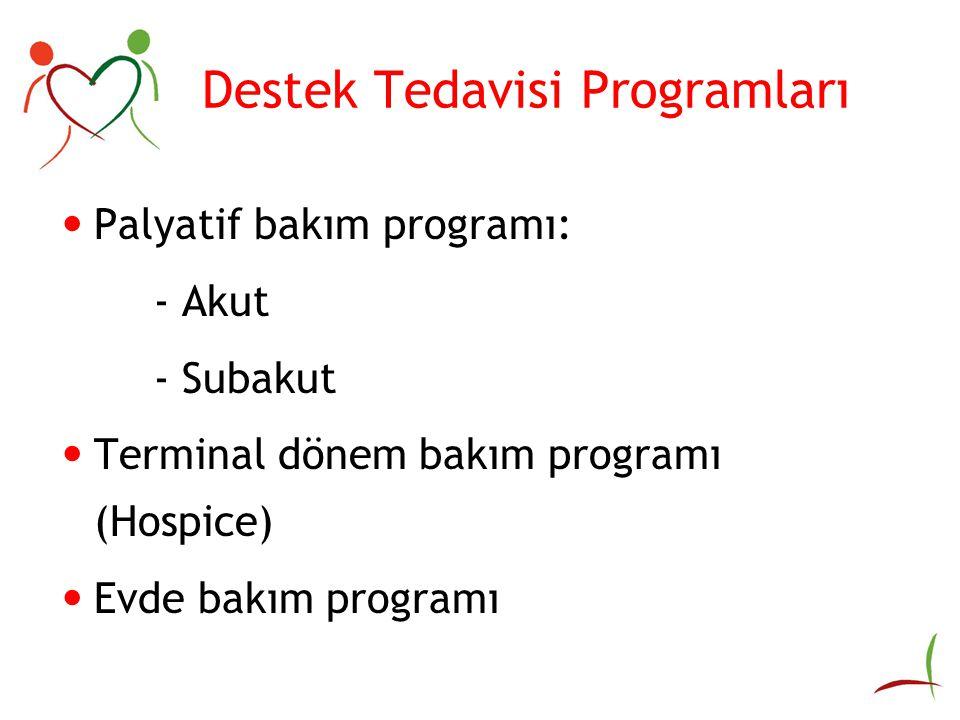 Destek Tedavisi Programları Palyatif bakım programı: - Akut - Subakut Terminal dönem bakım programı (Hospice) Evde bakım programı