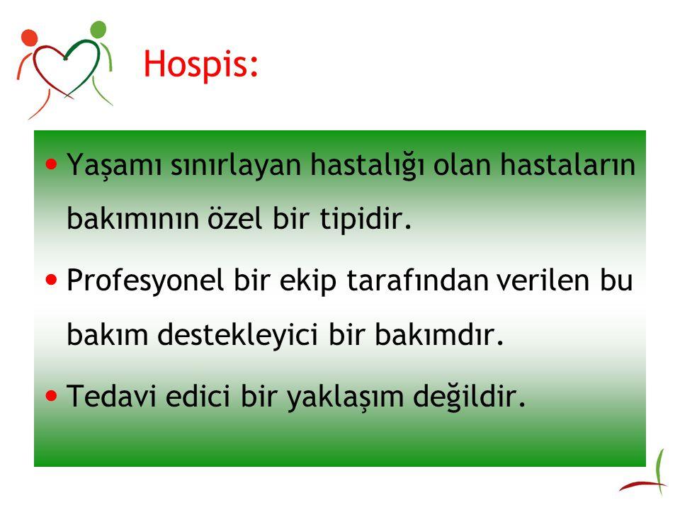 Hospis: Yaşamı sınırlayan hastalığı olan hastaların bakımının özel bir tipidir.