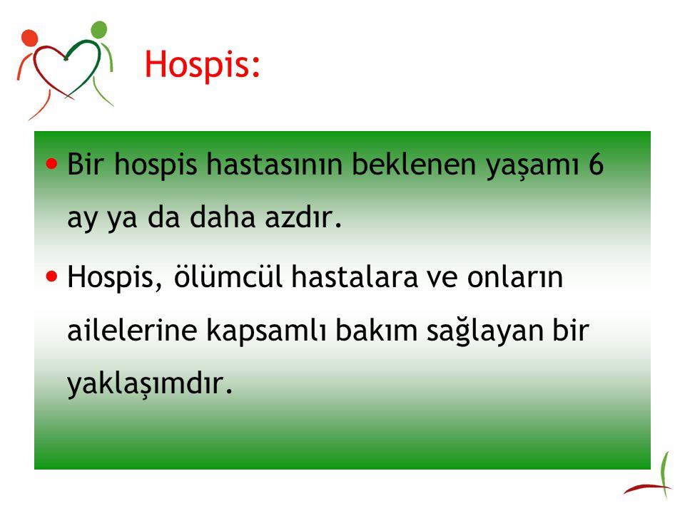 Hospis: Bir hospis hastasının beklenen yaşamı 6 ay ya da daha azdır.