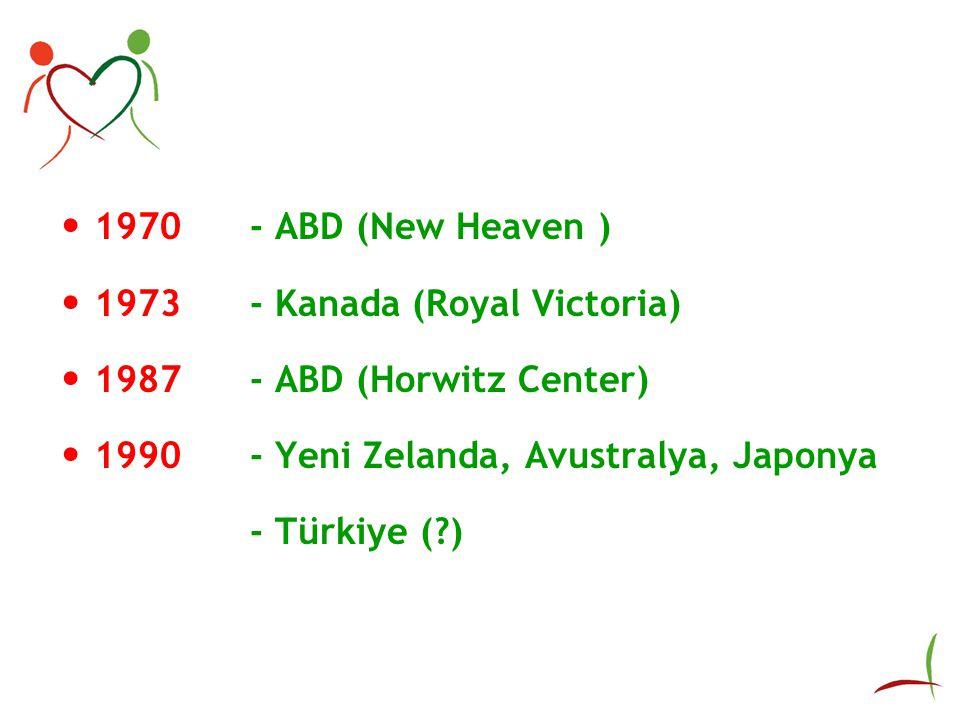 1970 - ABD (New Heaven ) 1973- Kanada (Royal Victoria) 1987- ABD (Horwitz Center) 1990- Yeni Zelanda, Avustralya, Japonya - Türkiye (?)