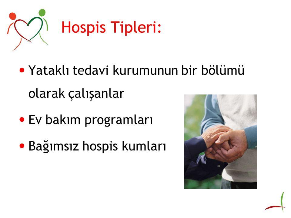 Hospis Tipleri: Yataklı tedavi kurumunun bir bölümü olarak çalışanlar Ev bakım programları Bağımsız hospis kumları