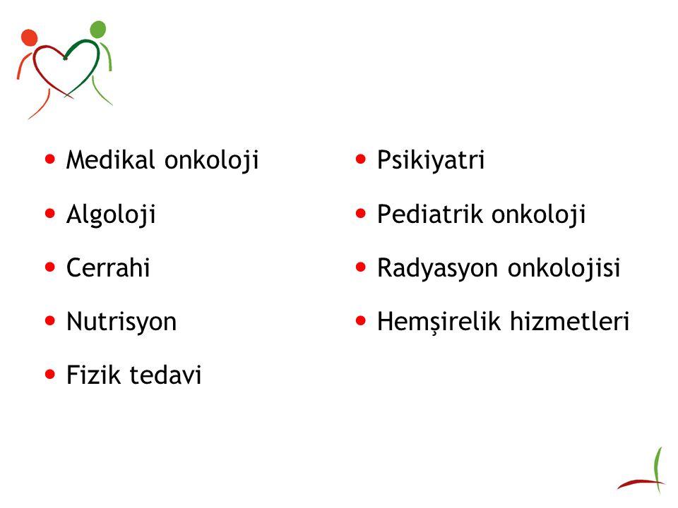 Medikal onkoloji Algoloji Cerrahi Nutrisyon Fizik tedavi Psikiyatri Pediatrik onkoloji Radyasyon onkolojisi Hemşirelik hizmetleri