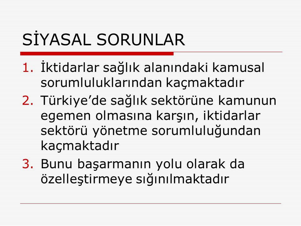 SİYASAL SORUNLAR 1.İktidarlar sağlık alanındaki kamusal sorumluluklarından kaçmaktadır 2.Türkiye'de sağlık sektörüne kamunun egemen olmasına karşın, i