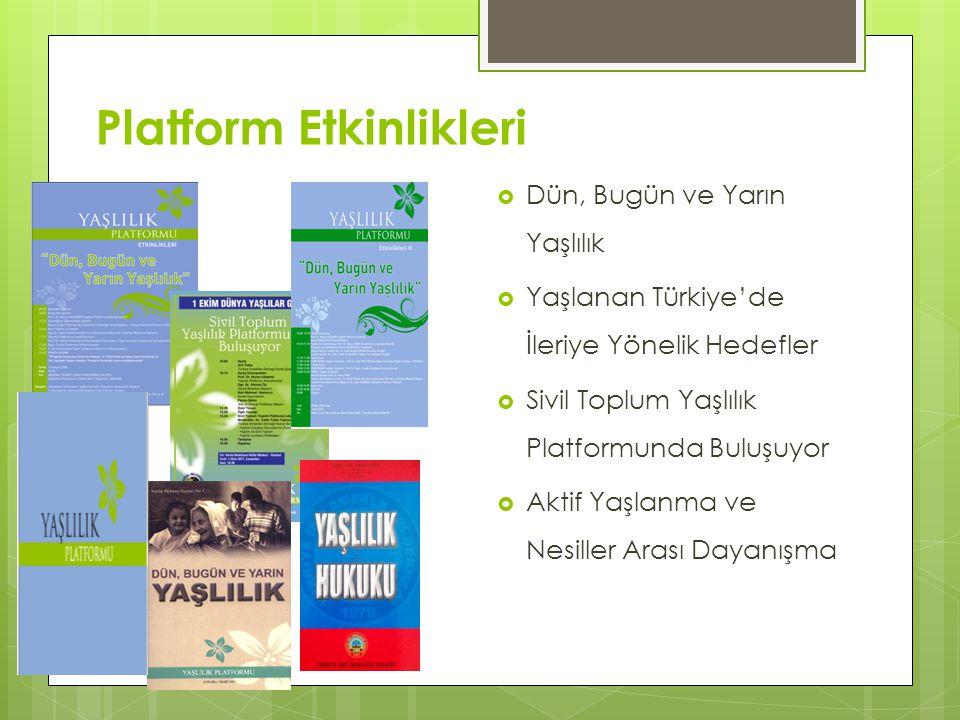 Platform Etkinlikleri  Dün, Bugün ve Yarın Yaşlılık  Yaşlanan Türkiye'de İleriye Yönelik Hedefler  Sivil Toplum Yaşlılık Platformunda Buluşuyor  A