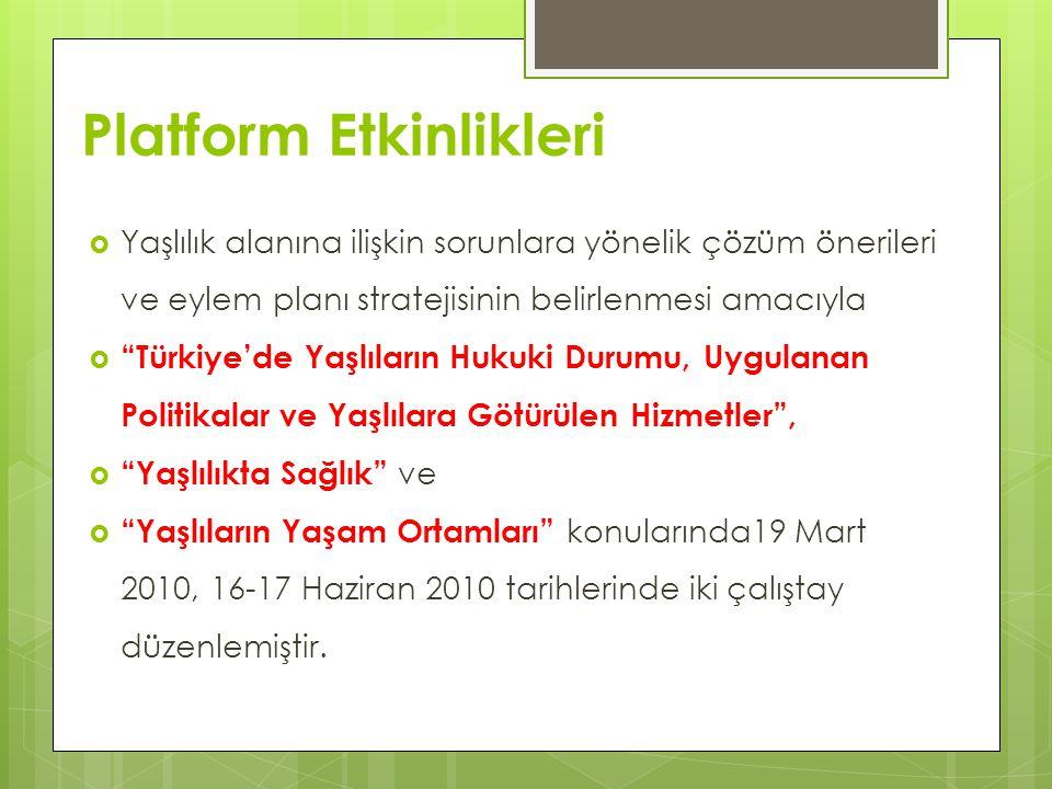 """Platform Etkinlikleri  Yaşlılık alanına ilişkin sorunlara yönelik çözüm önerileri ve eylem planı stratejisinin belirlenmesi amacıyla  """"Türkiye'de Ya"""