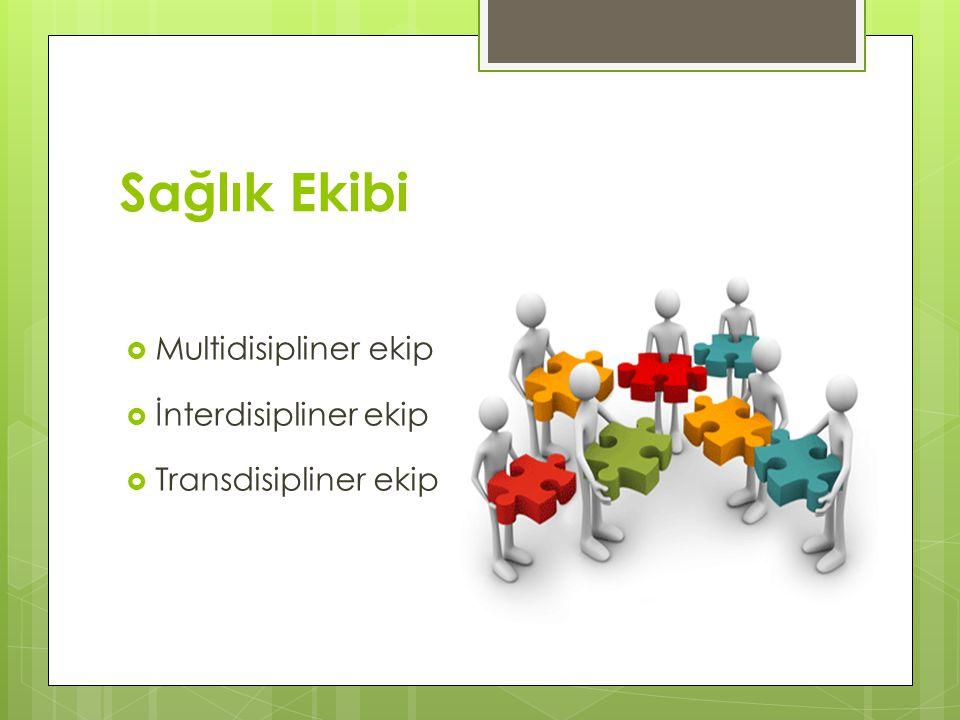 Sağlık Ekibi  Multidisipliner ekip  İnterdisipliner ekip  Transdisipliner ekip