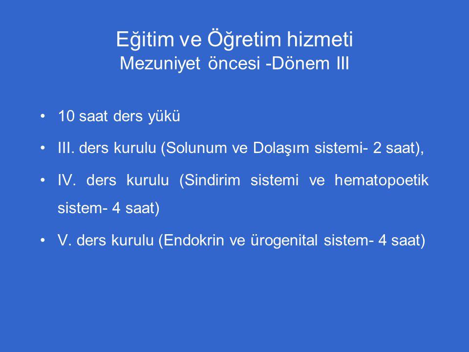 Eğitim ve Öğretim hizmeti Mezuniyet öncesi -Dönem III 10 saat ders yükü III. ders kurulu (Solunum ve Dolaşım sistemi- 2 saat), IV. ders kurulu (Sindir