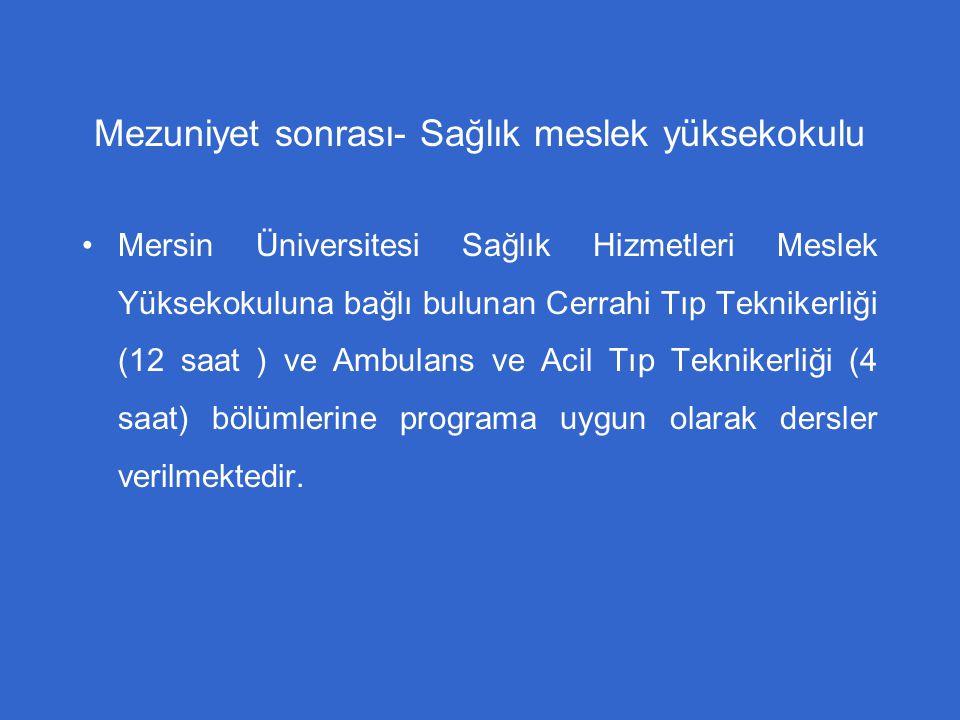 Mezuniyet sonrası- Sağlık meslek yüksekokulu Mersin Üniversitesi Sağlık Hizmetleri Meslek Yüksekokuluna bağlı bulunan Cerrahi Tıp Teknikerliği (12 saa