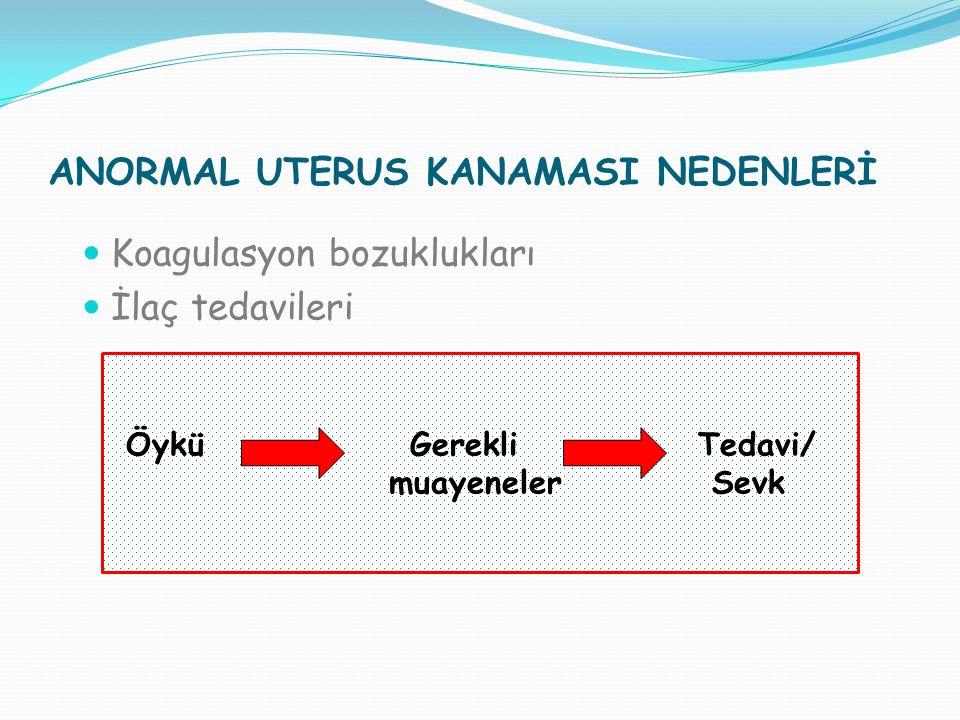 ANORMAL UTERUS KANAMASI Adet Düzensizliği Adetlerin artması Adetlerin azalması