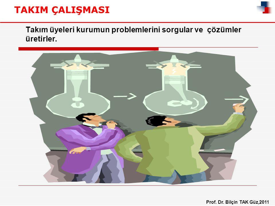 Takım üyeleri kurumun problemlerini sorgular ve çözümler üretirler. TAKIM ÇALIŞMASI Prof. Dr. Bilçin TAK Güz,2011