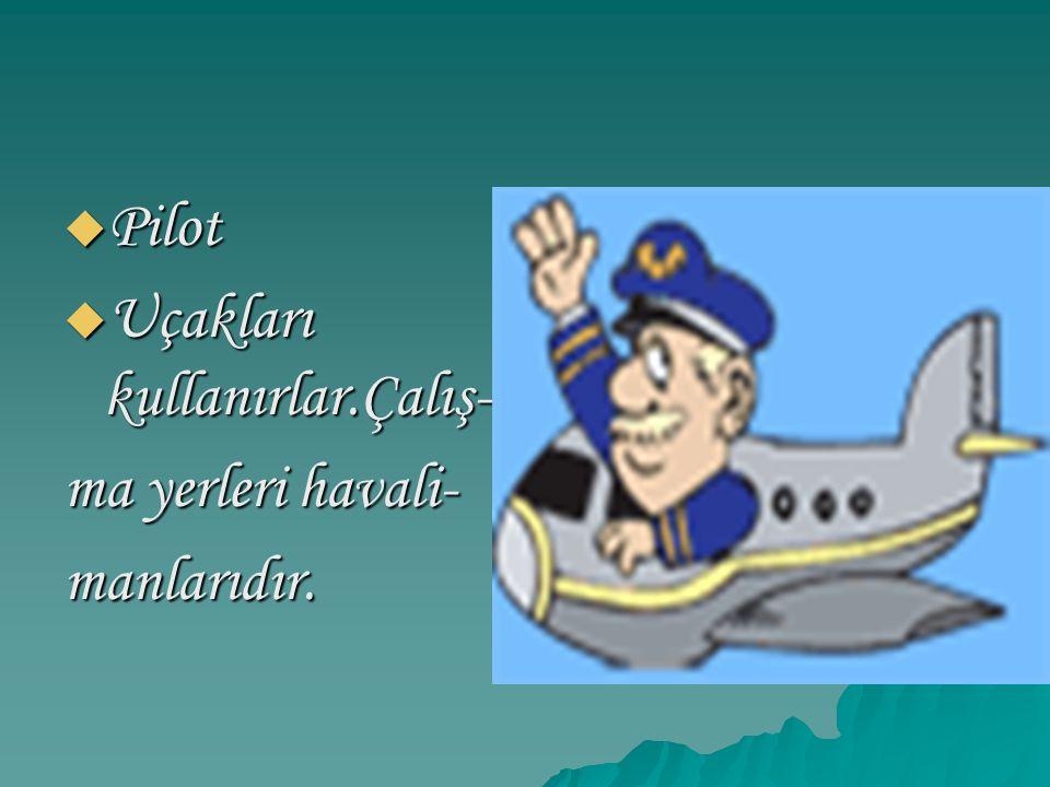  Pilot  Uçakları kullanırlar.Çalış- ma yerleri havali- manlarıdır.