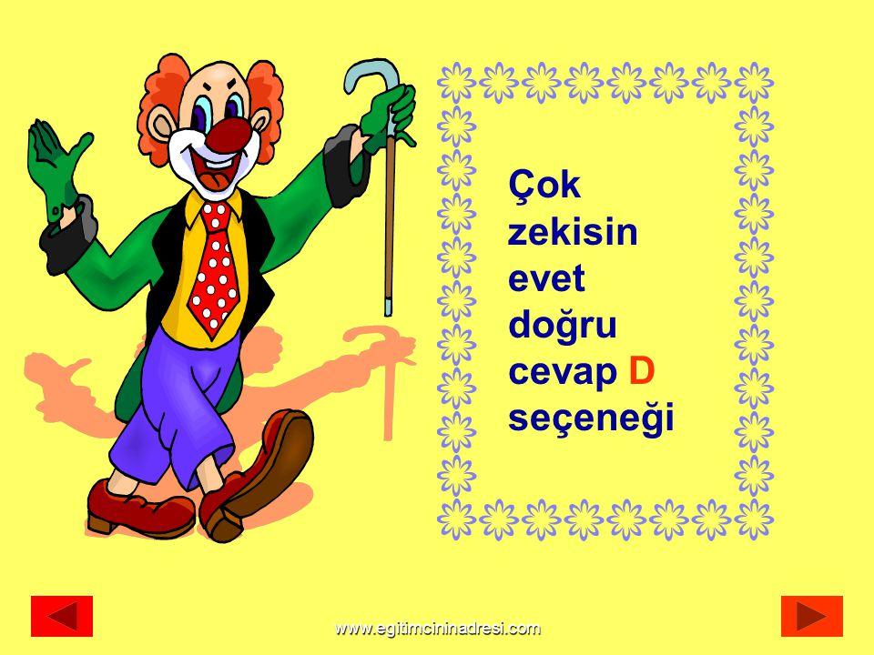 Çok zekisin evet doğru cevap D seçeneği www.egitimcininadresi.com