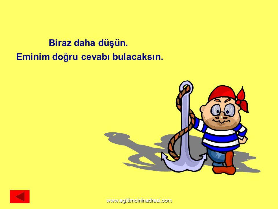 Biraz daha düşün. Eminim doğru cevabı bulacaksın. www.egitimcininadresi.com