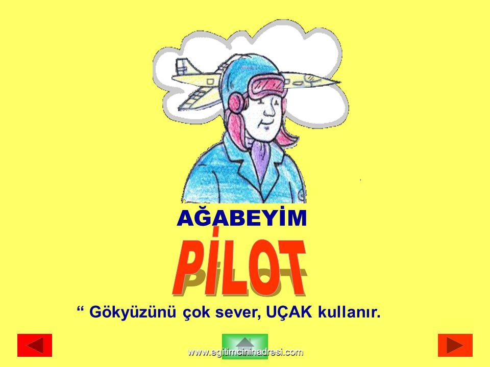 """AĞABEYİM """" Gökyüzünü çok sever, UÇAK kullanır. www.egitimcininadresi.com"""